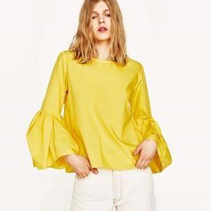 Zara Yellow Cotton Bell Sleeve Top